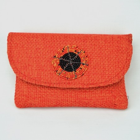 Small Jute Clutch With Maasai Beadwork