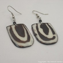 Mudcloth Print Bone Dangle Earrings 501-44