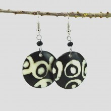 Round Mud Cloth Print Batik Earrings 374-113