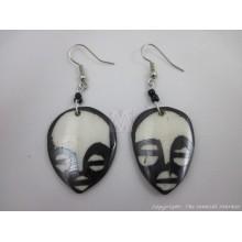 Small Ethnic Tribal Mask Bone Maasai Earrings 283-23