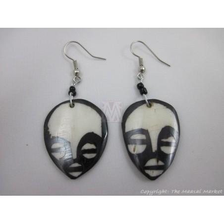 Small Ethnic Tribal Mask Bone Maasai Earrings