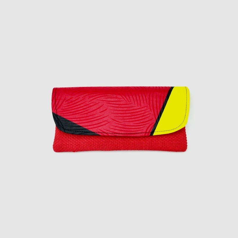 Large Red Jute Kitenge Fabric Clutch