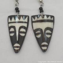 Tribal Mask Cow Bone Maasai Earrings 601-61