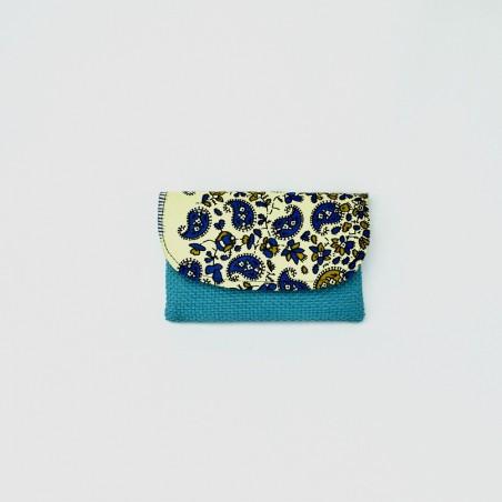 Small Aqua Jute Kitenge Fabric Clutch