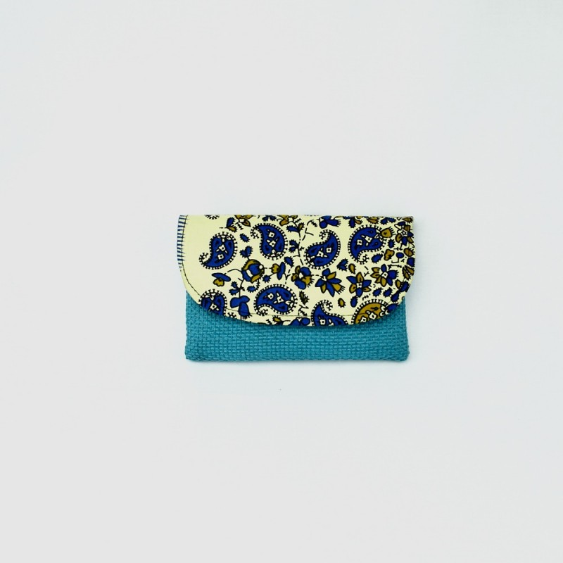 Small Aqua Jute Kitenge Fabric Clutch