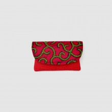 Small Red Jute Kitenge Fabric Clutch