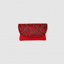 Small Red Jute Kitenge Fabric Clutch