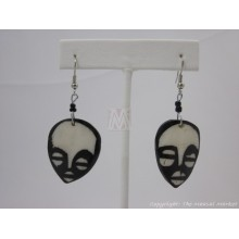 Large Ethnic Tribal Mask Bone Maasai Earrings 622-61