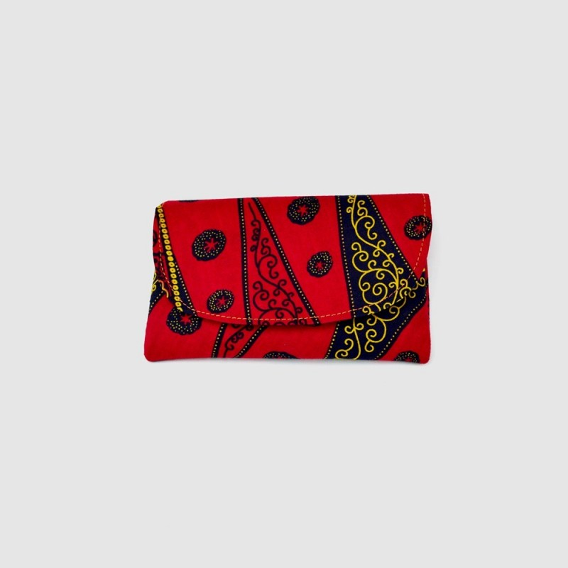 Small Red Kitenge Fabric Clutch