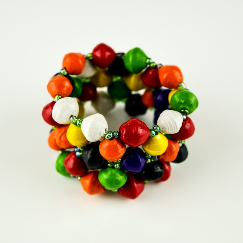 Recycled Multi-Color Paper Bead Elastic Bracelet
