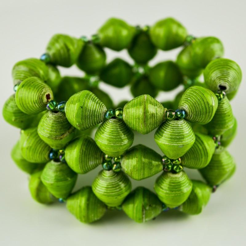 Recycled Green Paper Bead Elastic Bracelet
