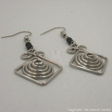 Silver Wire Maasai Bead Square Spiral Earrings