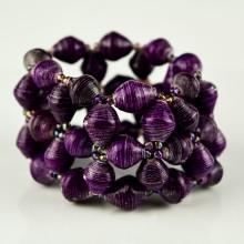 Recycled Purple Paper Bead Elastic Bracelet