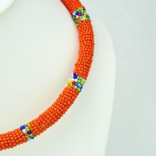 Orange Maasai Bead Necklace