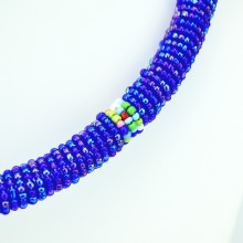Maasai iridescent Blue with Multi Color Bead Necklace