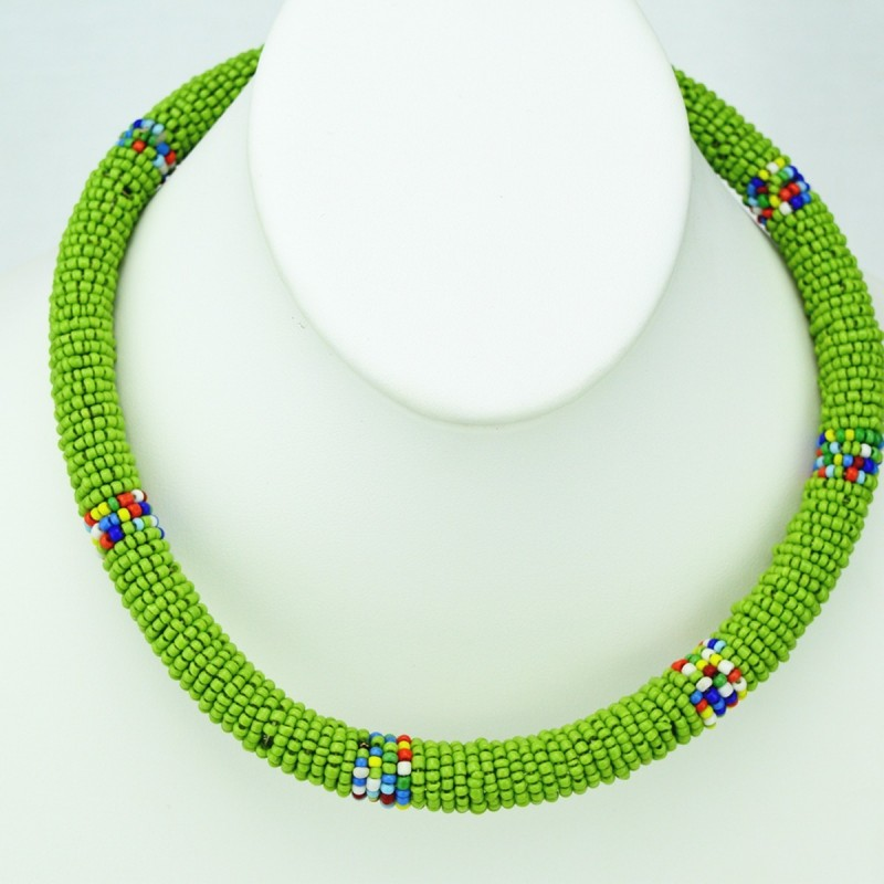 Maasai Light Green with Multi Color Bead Necklace