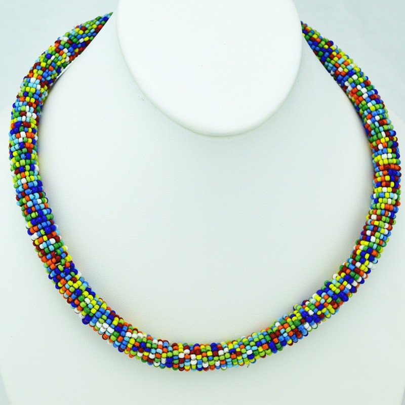 Maasai Multi Color Bead Necklace