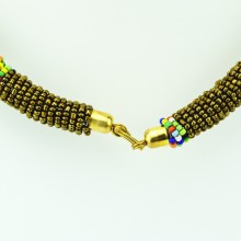 Maasai Gold with Multi Color Bead Necklace