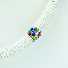 Maasai White with Multi Color Bead Necklace