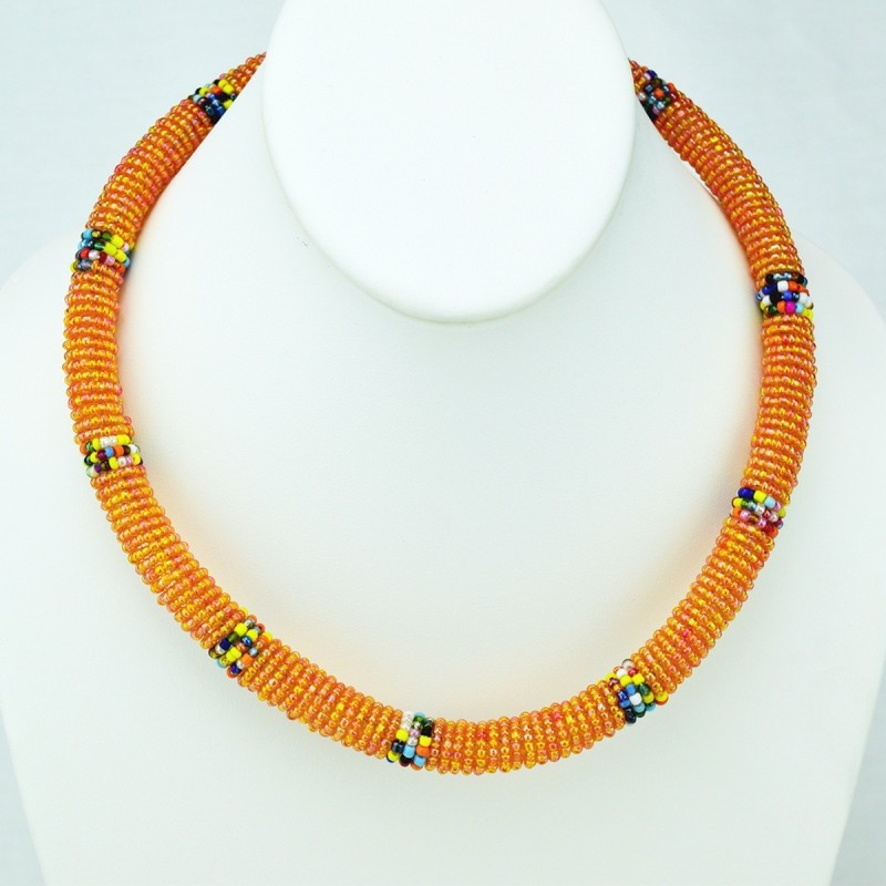Maasai Iridescent Orange with Multi Color Bead Necklace