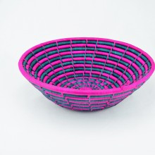 Uganda Handmade Banana Leaf/ Raffia Bright Pink and Green Vertigo Basket
