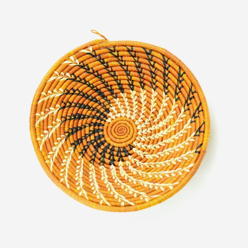 Uganda Handmade Banana Leaf/ Raffia Swirl Basket