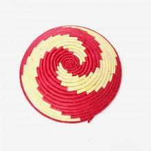 Uganda Handmade Banana Leaf/ Raffia Peppermint Swirl Basket