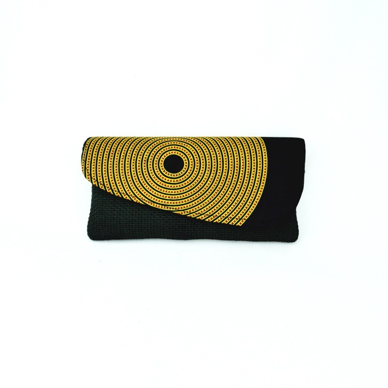 Large Black Jute Kitenge Fabric Clutch