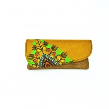 Large Light Brown Jute Kitenge Fabric Clutch