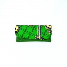 Large Dark Green Jute Kitenge Fabric Clutch