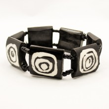 Mud Cloth Print Bulls Eye Bone Bracelet