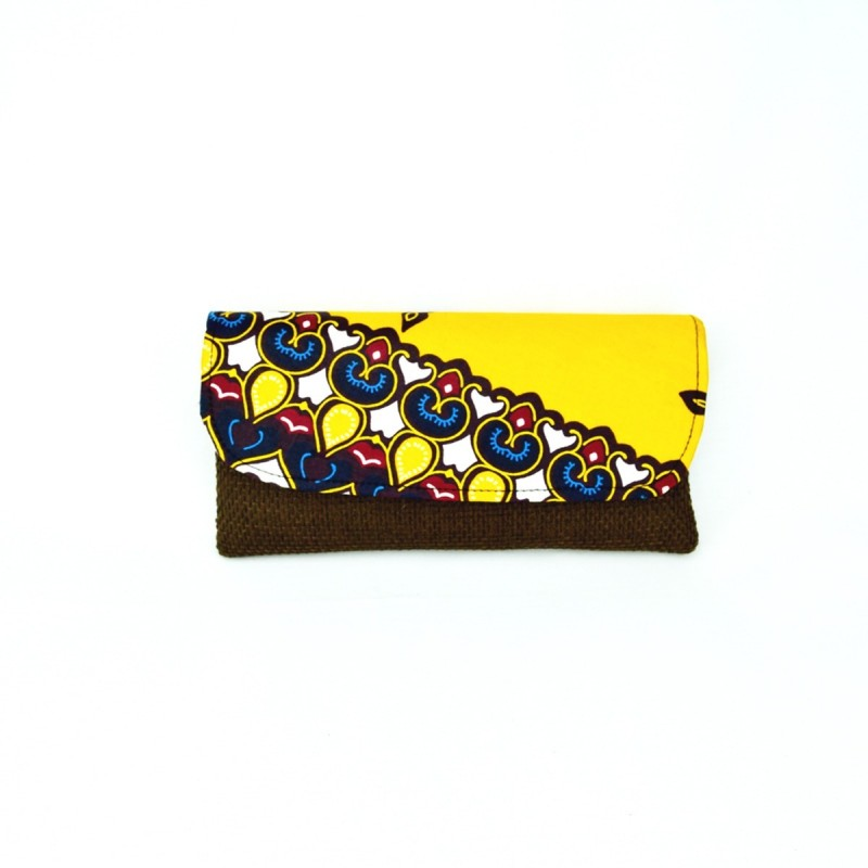 Large Dark Brown Jute Kitenge Fabric Clutch