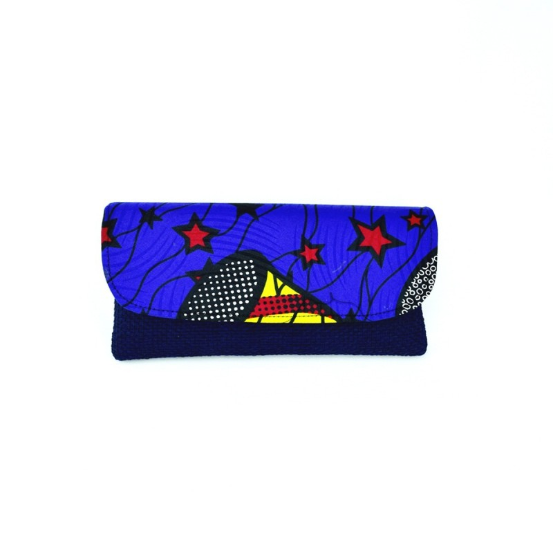 Large Dark Blue Jute Kitenge Fabric Clutch