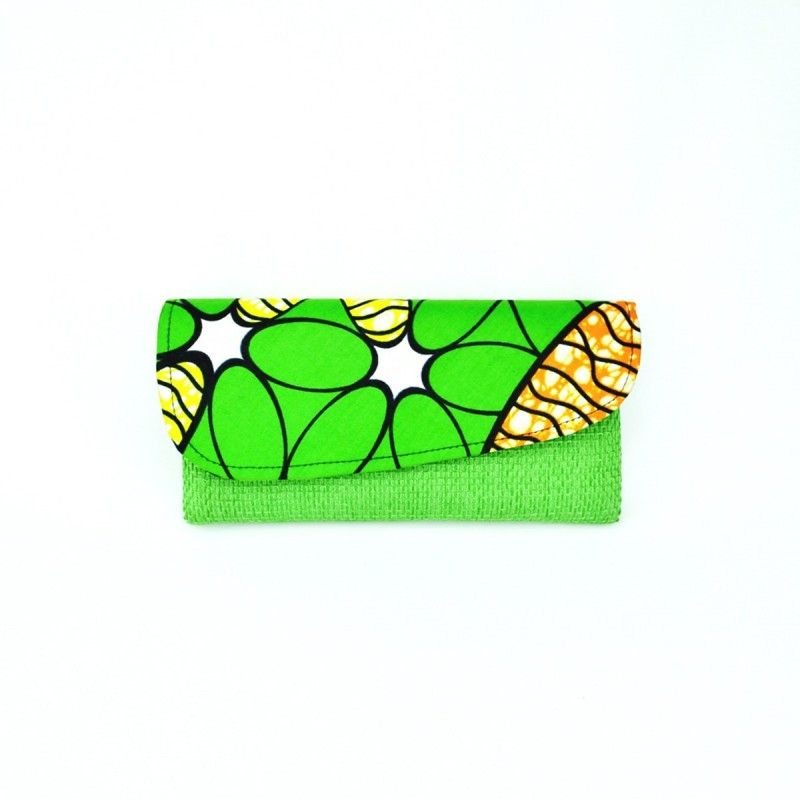 Large Light Green Jute Kitenge Fabric Clutch
