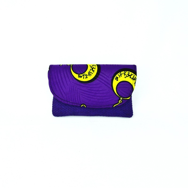 Small Purple Jute Kitenge Fabric Clutch