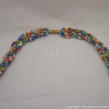 Maasai MultiColor Bead Green Resin Necklace