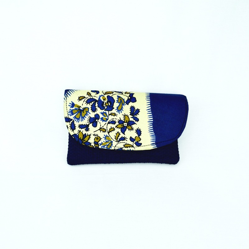 Small Dark Blue Jute Kitenge Fabric Clutch