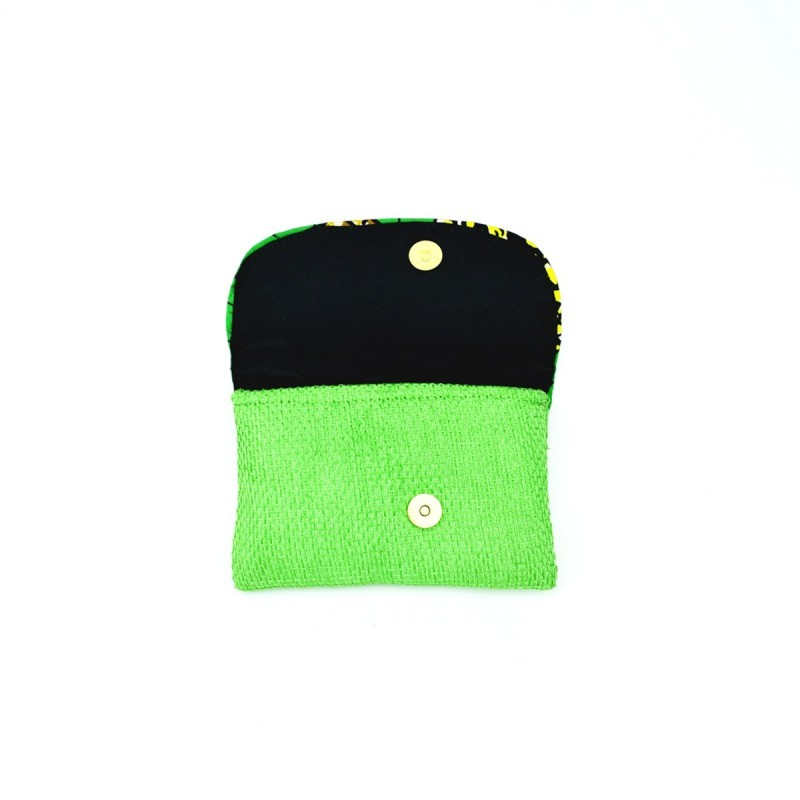 Small Light Green Jute Kitenge Fabric Clutch