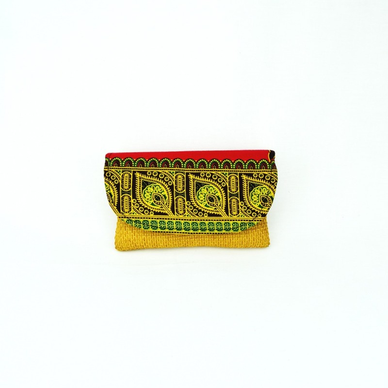 Small Yellow Jute Kitenge Fabric Clutch