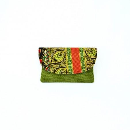 Small Olive Green Jute Kitenge Fabric Clutch