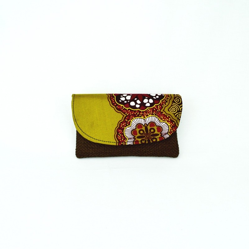 Small Dark Brown Jute Kitenge Fabric Clutch