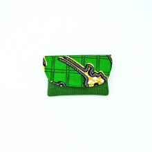Small Dark Green Jute Kitenge Fabric Clutch