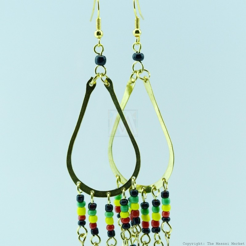 Brass Maasai Beads Rasta Earrings 124-26