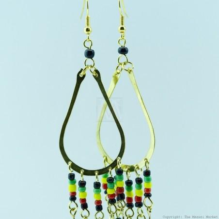 Brass Maasai Beads Rasta Earrings 124-26