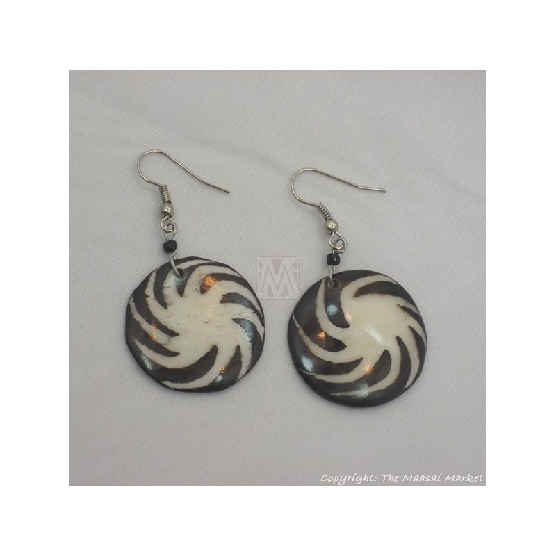 Cow Bone Pin Wheel Maasai Earrings 600-60