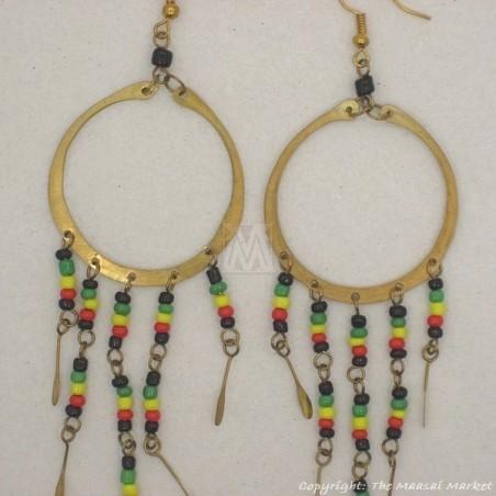 Brass Maasai Beads Rasta Earrings
