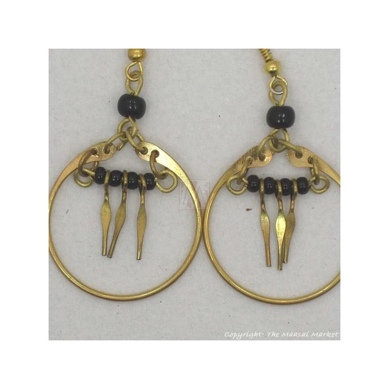 Brass Maasai Black Beads Earrings