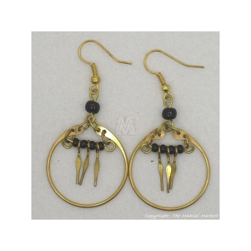 Brass Maasai Black Beads Earrings