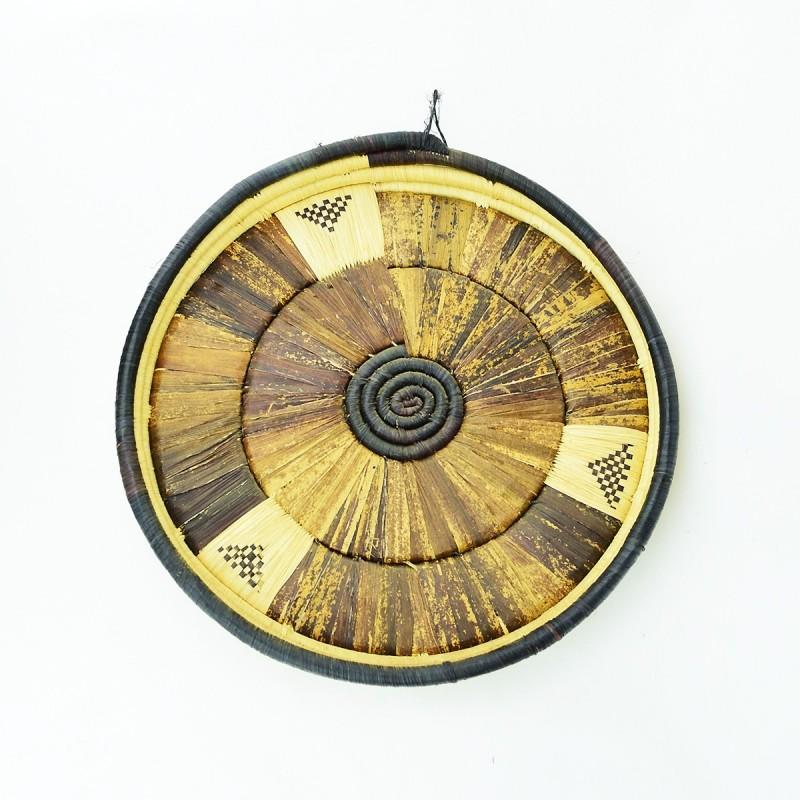 Uganda Handmade Banana Leaf/ Raffia Large Round Basket Tray