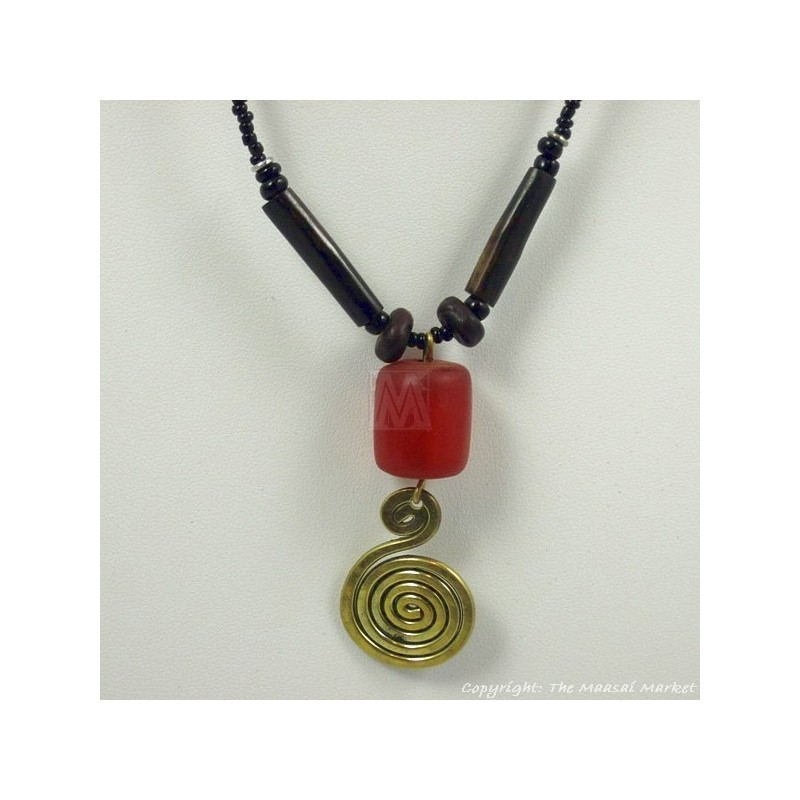 Bone Brass Amber Pendant Necklace